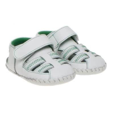 Little Blue Lamb - Baby boys first steps soft leather shoes   White green sandals