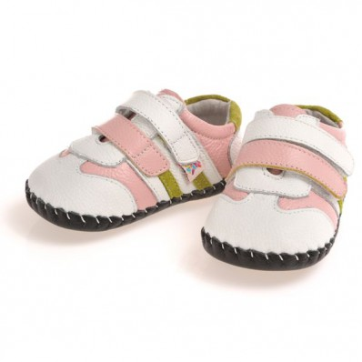 CAROCH - Baby girls first steps soft leather shoes | White pink strip sneakers